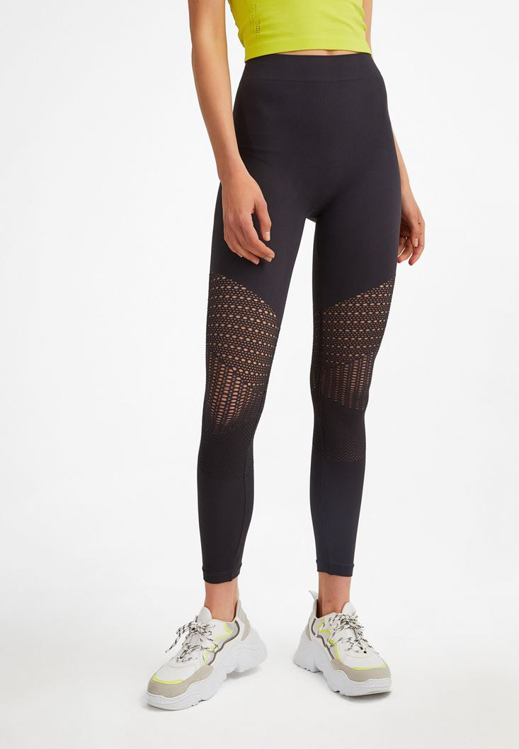Anthracite Grey Knee-Detailed High Waist Leggings