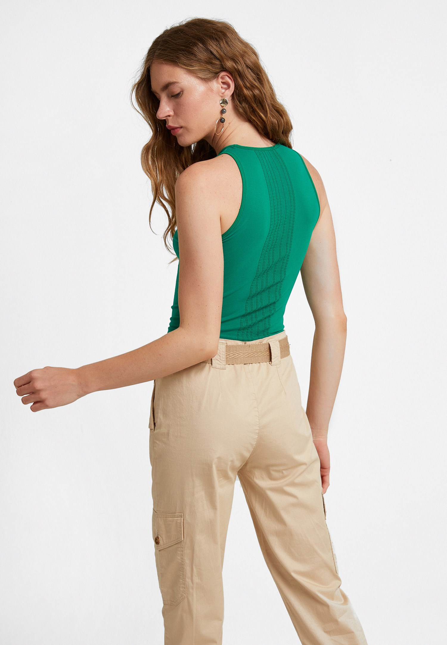 Bayan Yeşil Halter Yaka Dikişsiz Crop Top