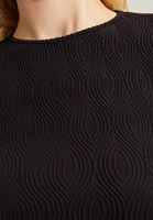 Bayan Siyah Dikişsiz Dokulu Bluz