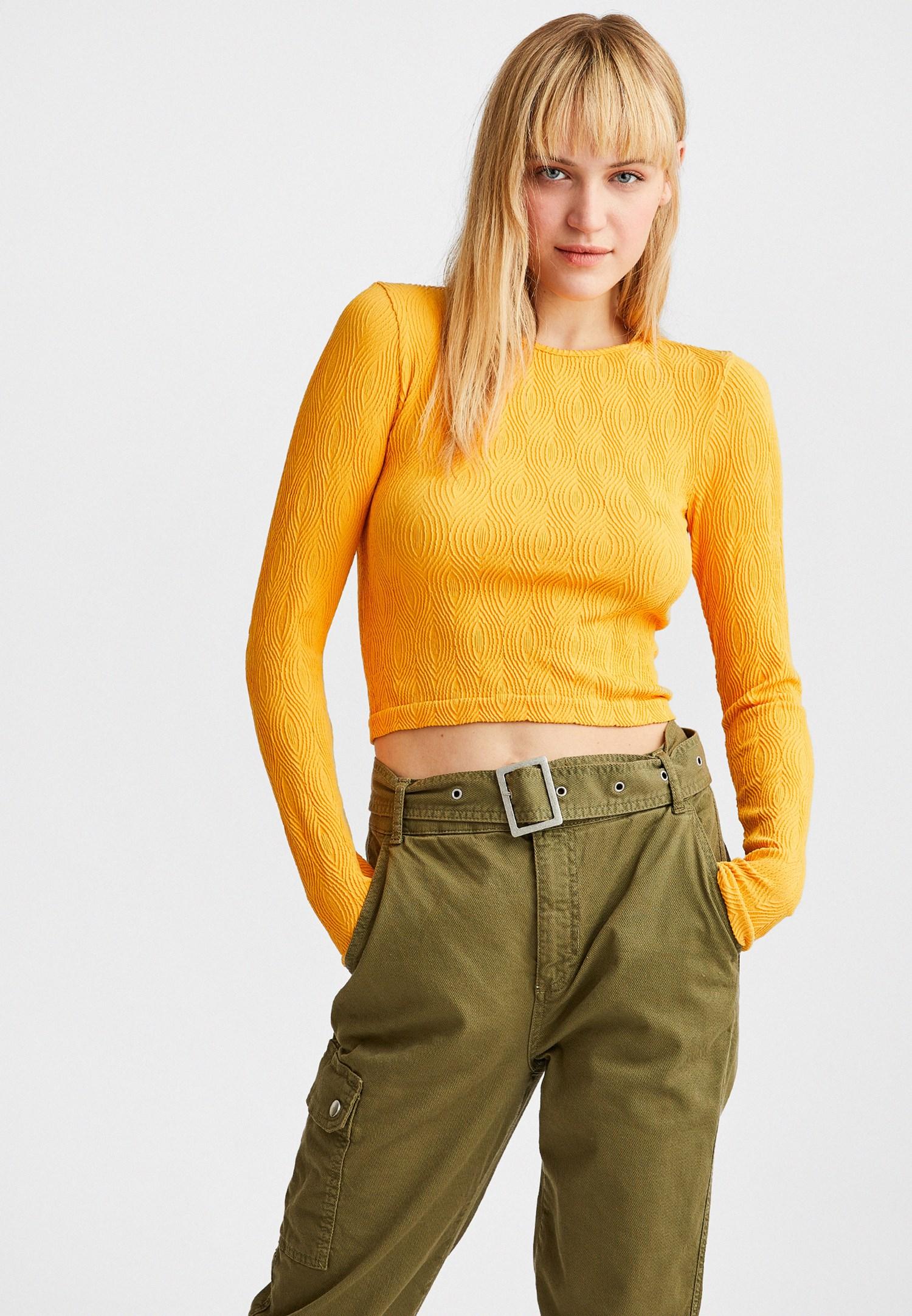 Bayan Sarı Dikişsiz Dokulu Bluz