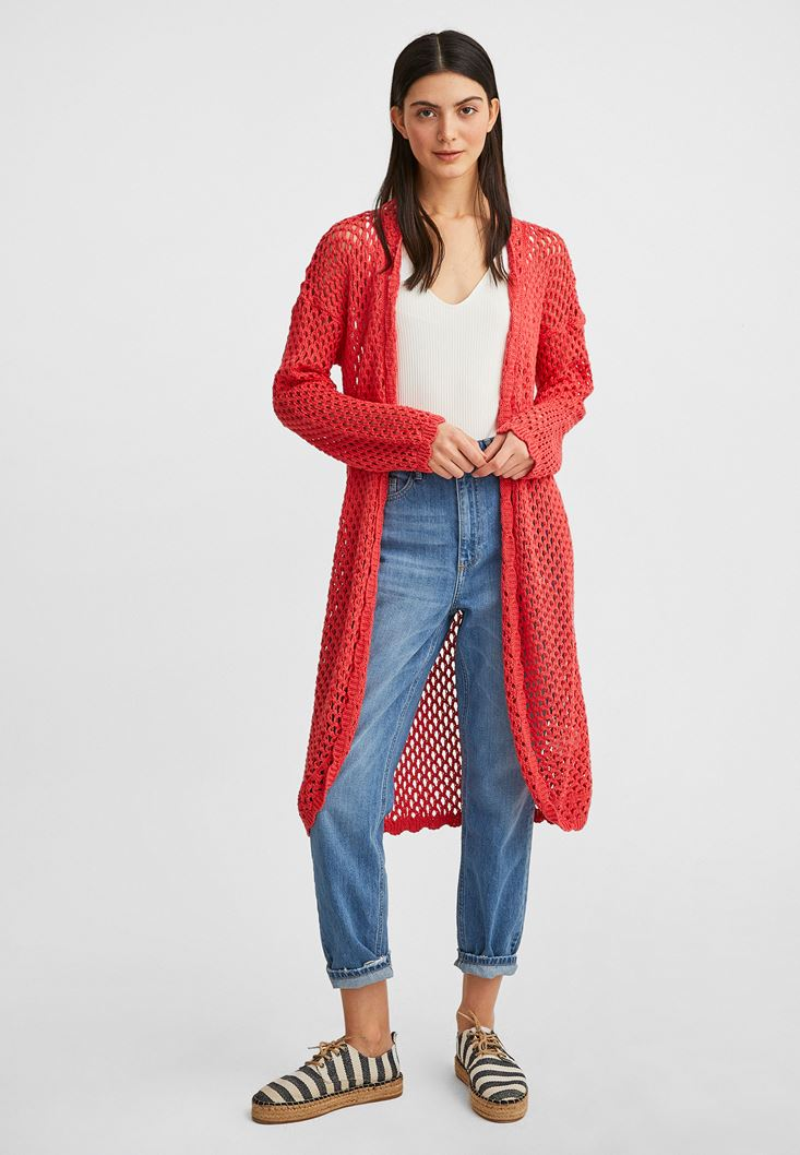 Orange Long Knitwear Cardigan