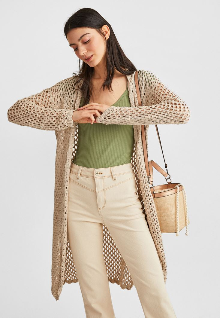 Cream Long Knitwear Cardigan