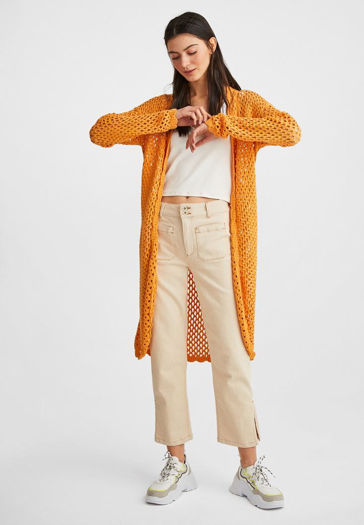 Yellow Long Knitwear Cardigan