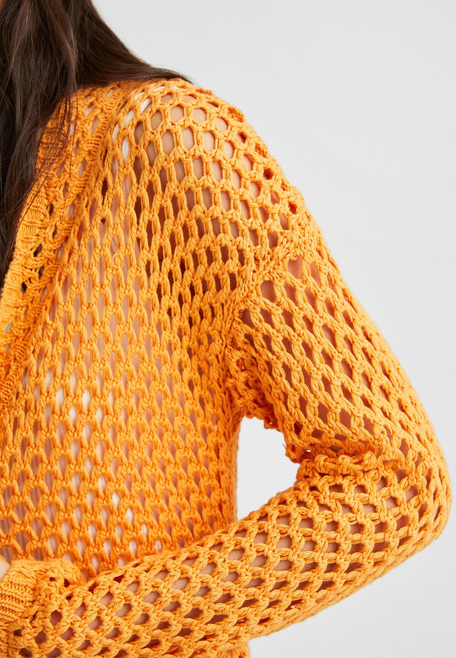 Bayan Sarı Uzun Örgü Hırka