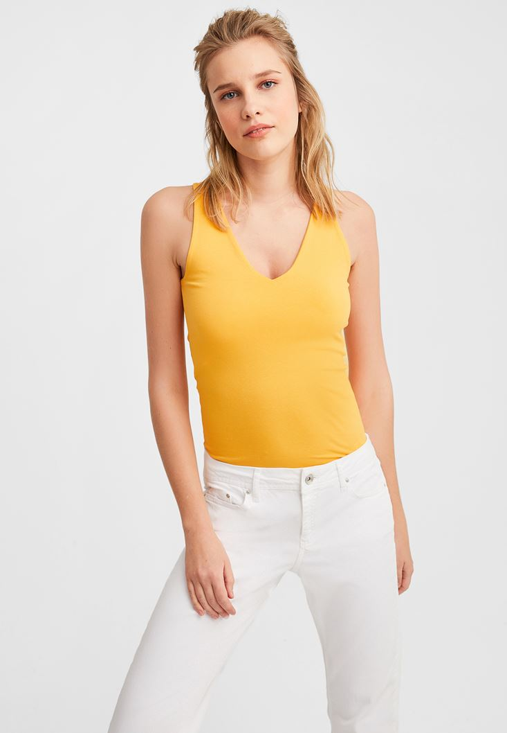 Yellow V-Neck Tank
