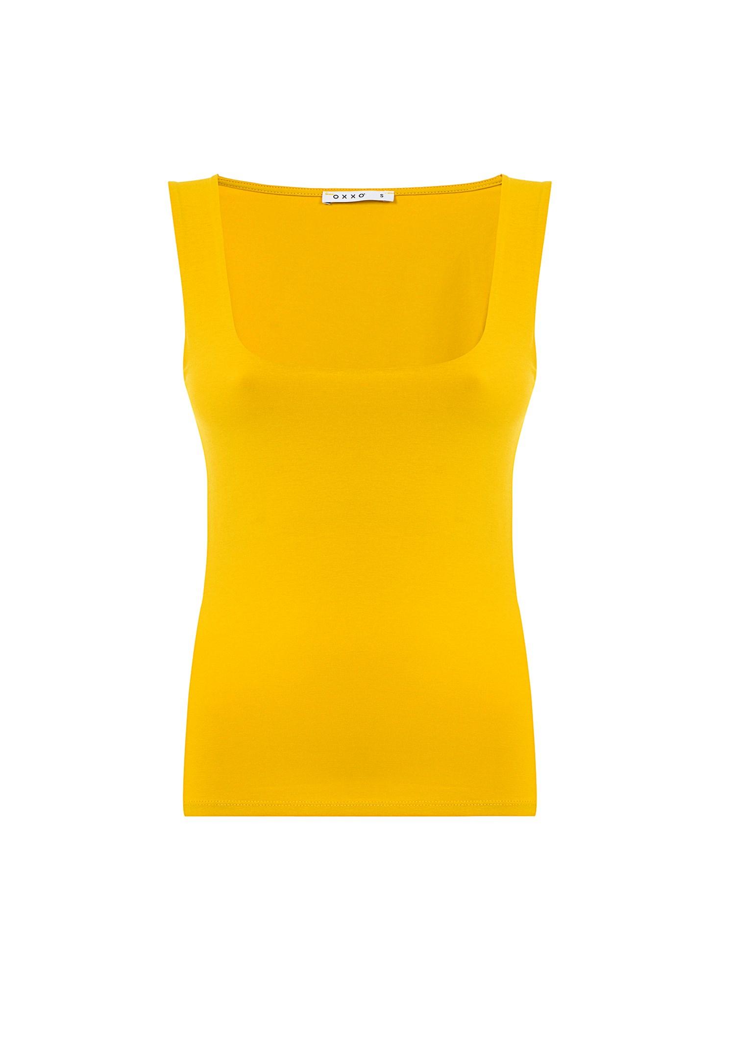 Bayan Sarı Kalın Askılı Kare Yaka Atlet