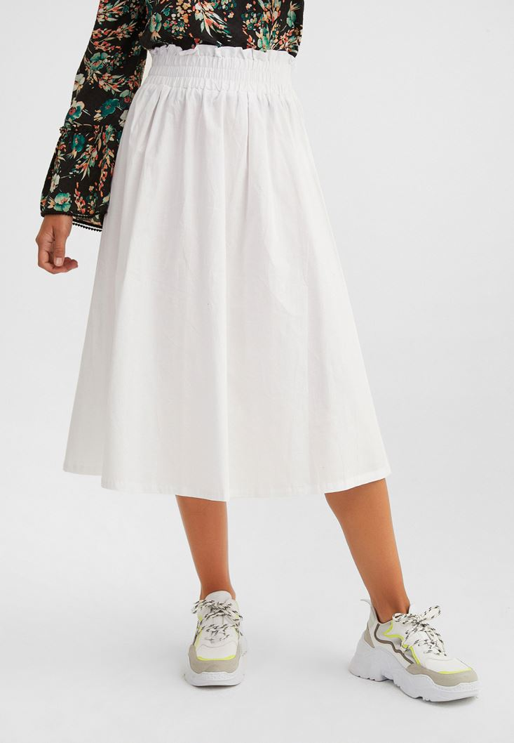 White Cotton Skirt with Belt Details