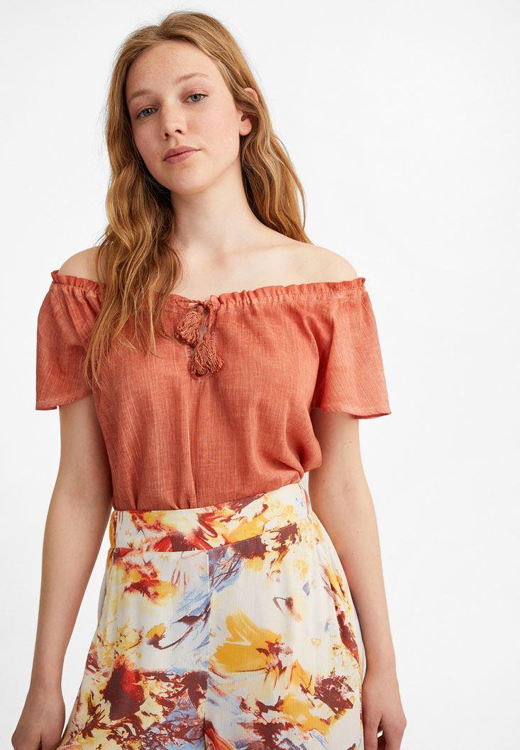 Orange Cotton Blouse with Bow