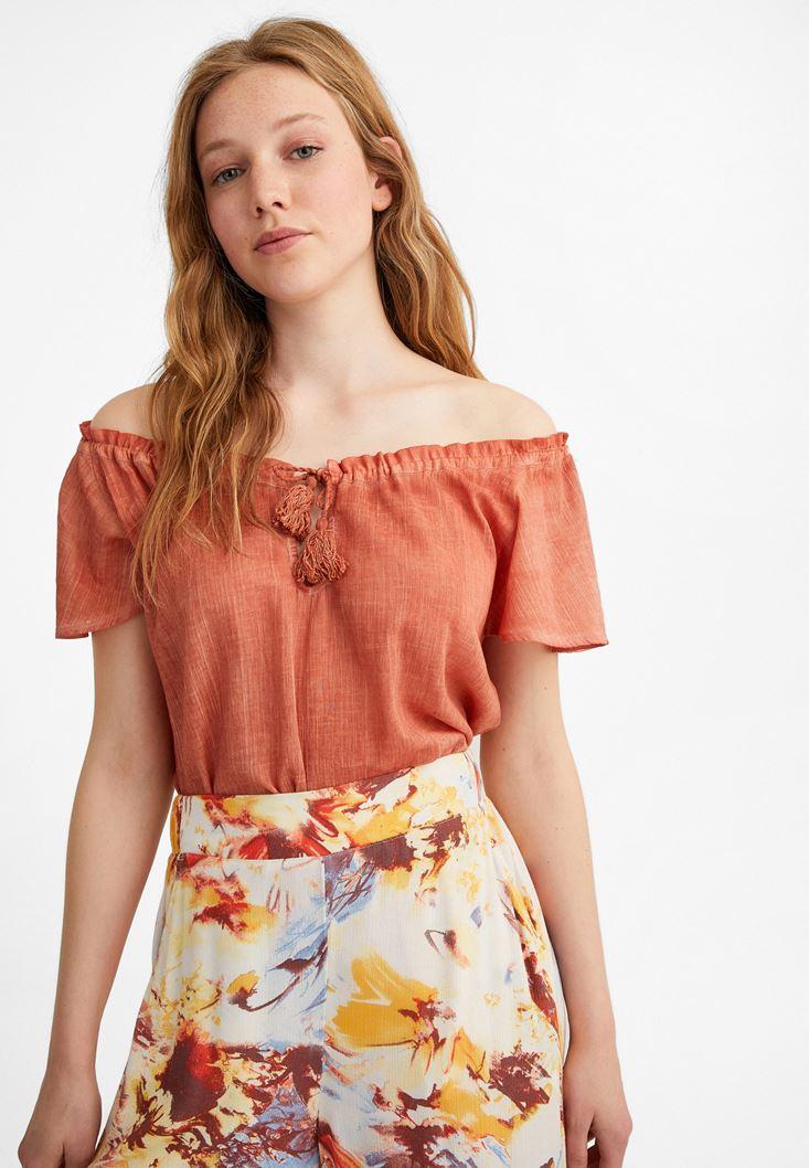 Orange Cotton Blouse with Bow