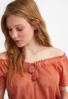 Women Orange Cotton Blouse with Bow