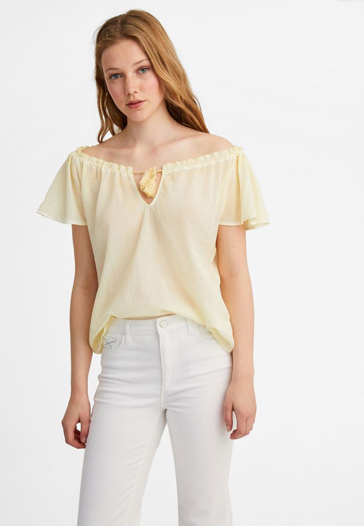 Yellow Cotton Blouse with Bow
