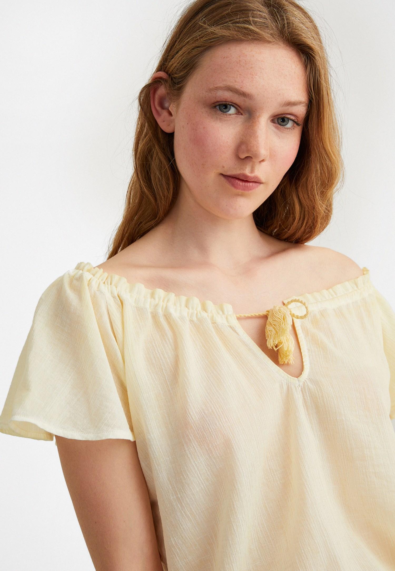 Bayan Sarı Kelebek Kol Pamuklu Bluz