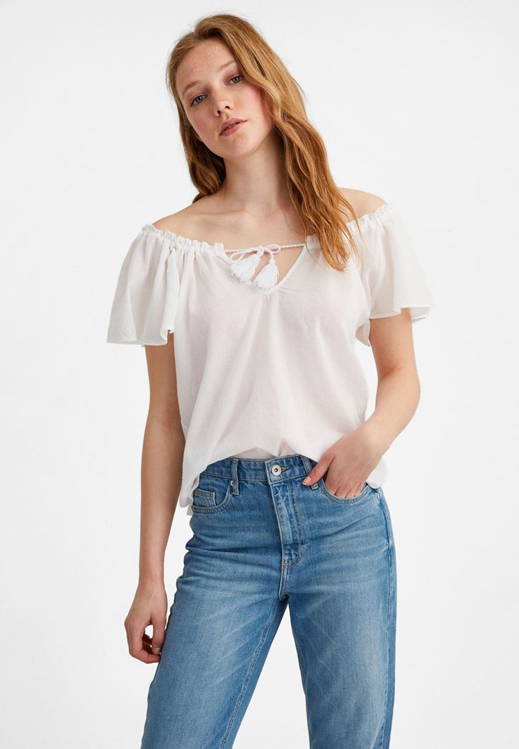 White Cotton Blouse with Bow