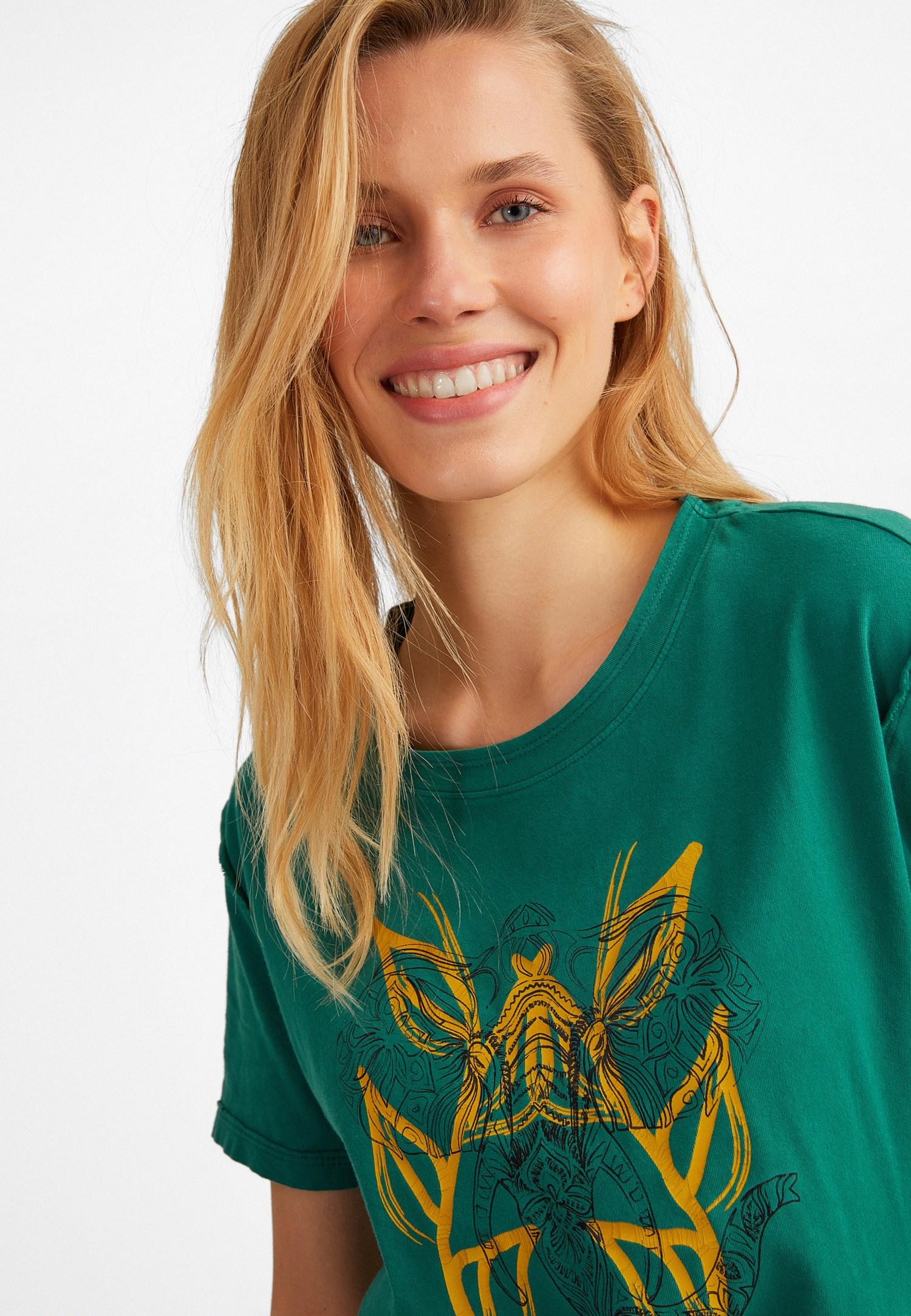 Bayan Yeşil Baskılı Tişört
