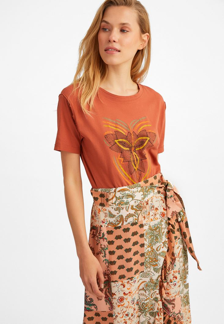 Brown Printed Cotton T-Shirt