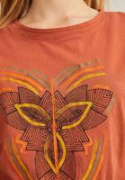 Bayan Kahverengi Baskılı Pamuk Tişört