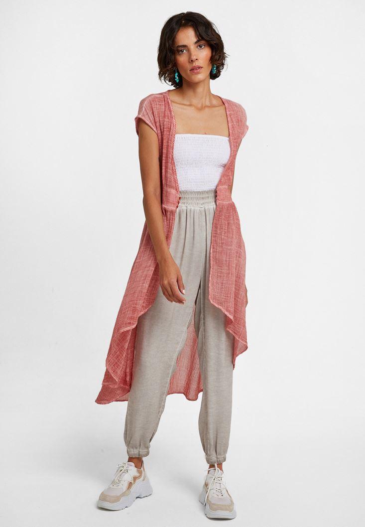 Brown Buttoned Long Kimono