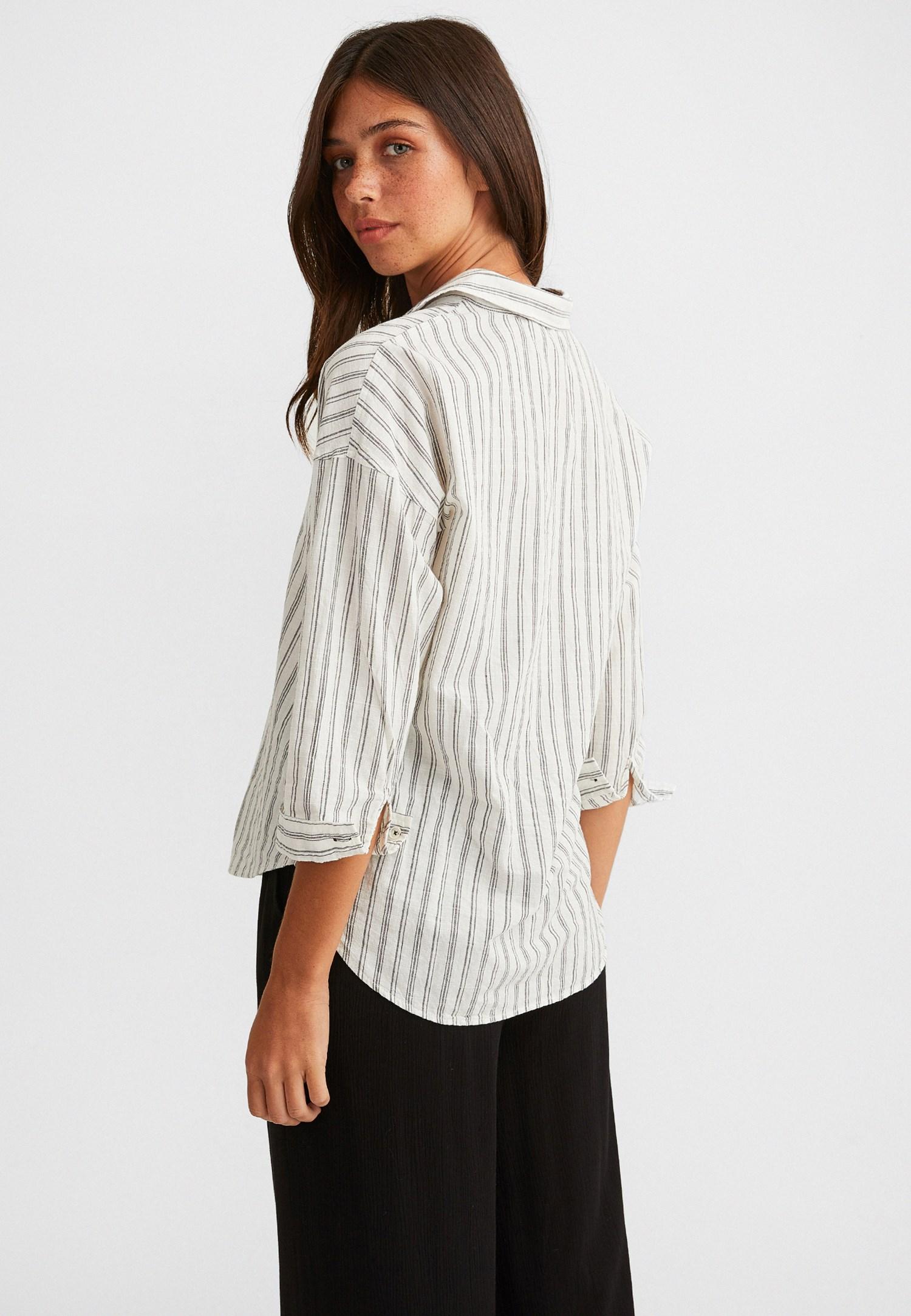 Bayan Siyah Çizgi Desenli Pamuklu Bol Gömlek