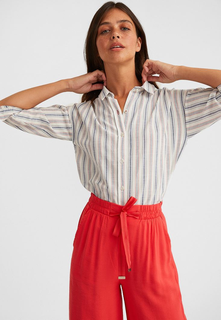 Mixed Striped Cotton Shirt