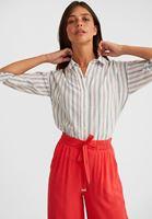 Bayan Çok Renkli Çizgi Desenli Pamuklu Bol Gömlek