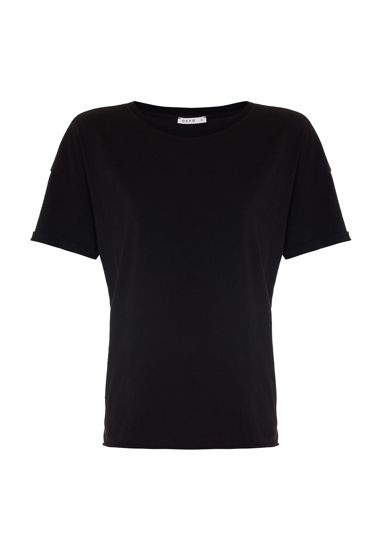 Bayan Siyah Oversize Basic Tişört