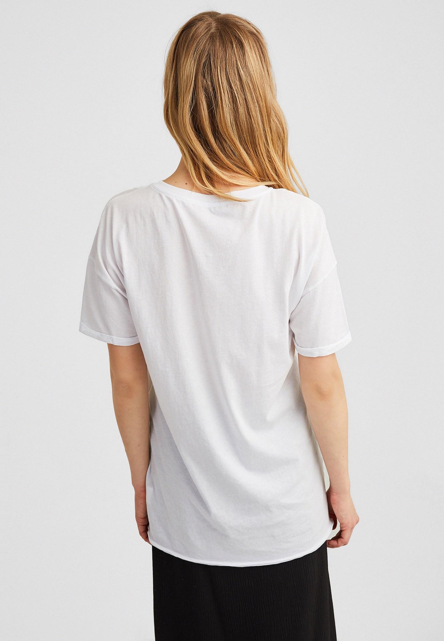 Bayan Beyaz Baskılı Boyfriend Tişört
