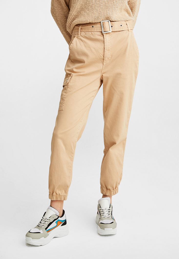 Cream Mid Rise Cargo Pants