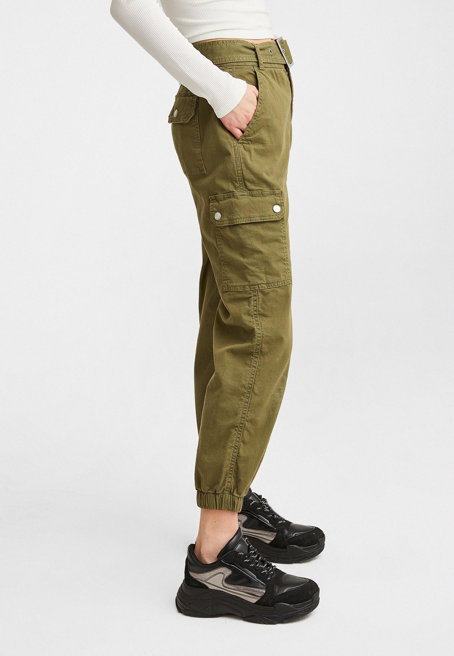 Women Green Mid Rise Cargo Pants