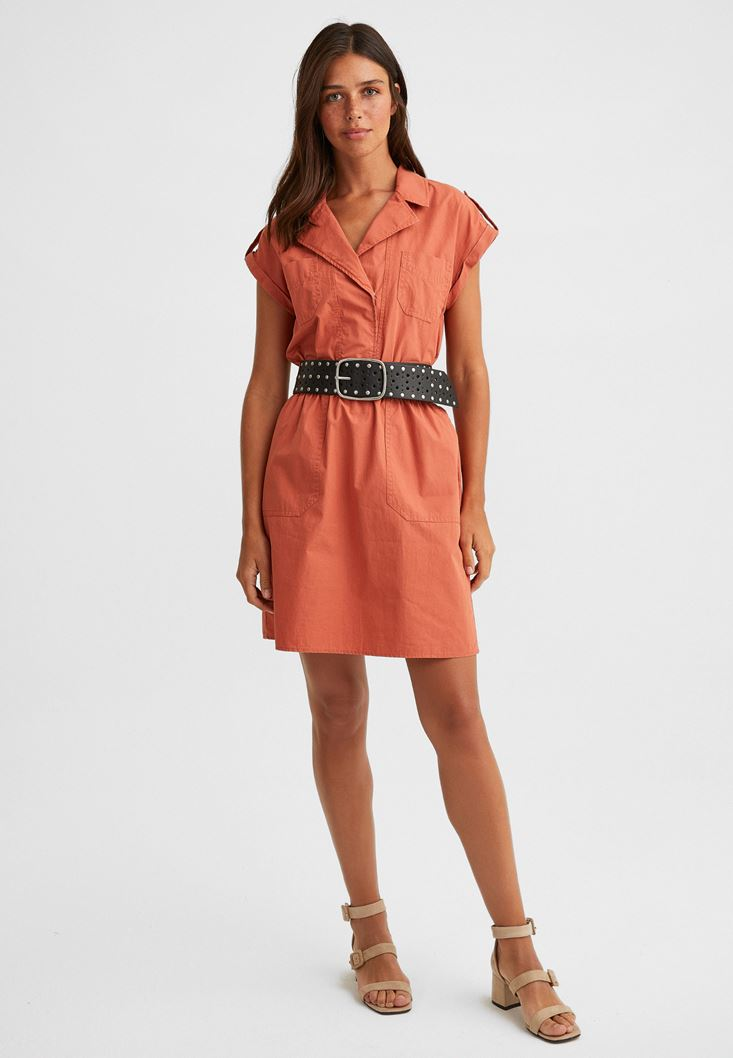 Orange Mini Shirt Dress