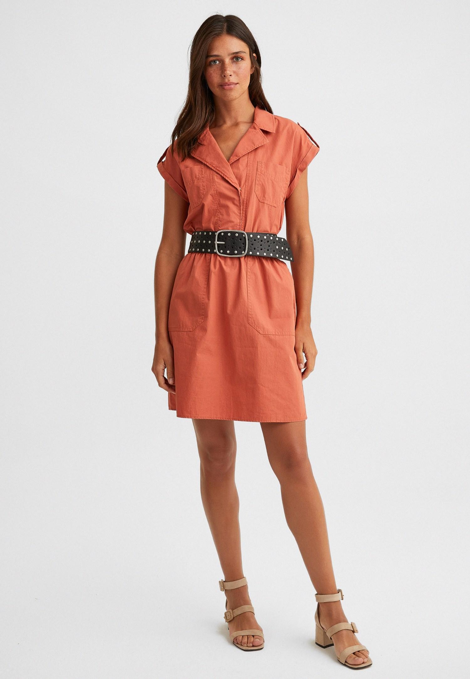Bayan Turuncu Gömlek Yaka Pamuklu Mini Elbise