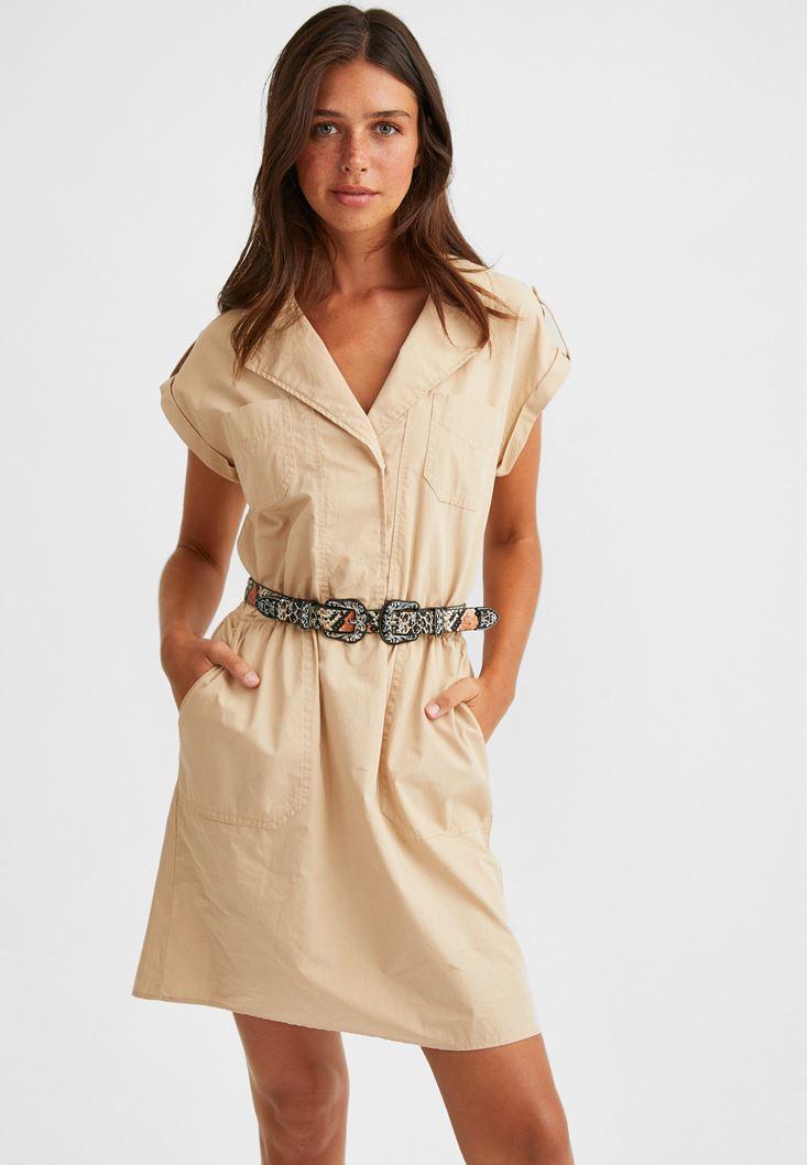 Krem Gömlek Yaka Pamuklu Mini Elbise