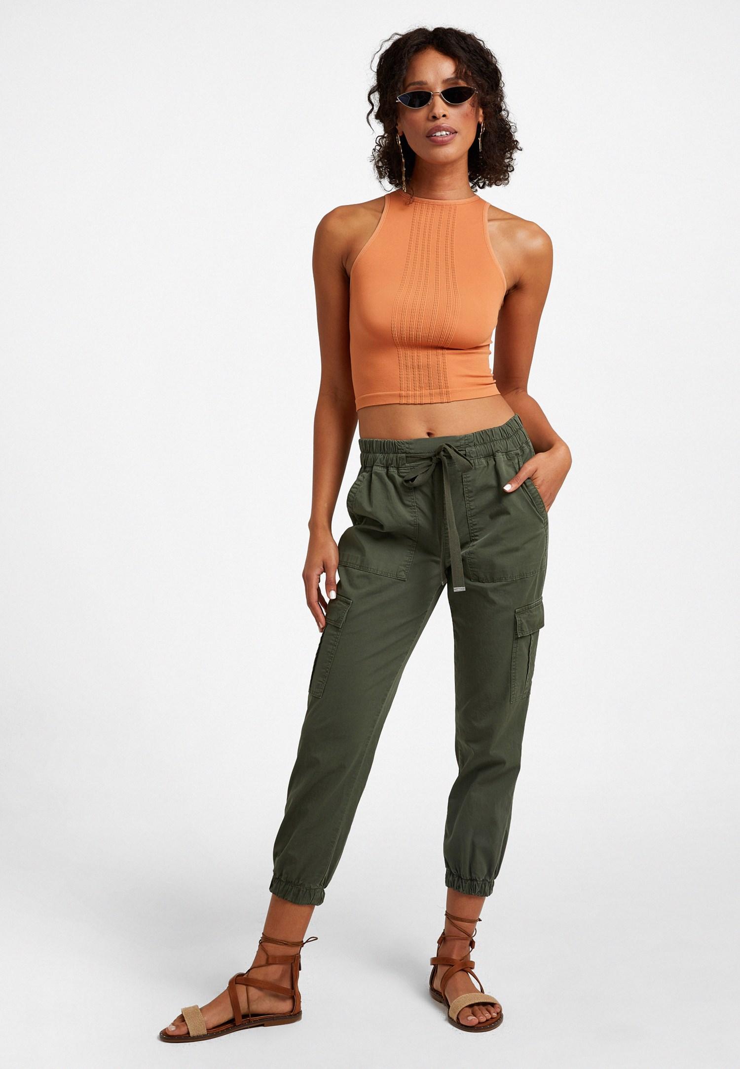 Bayan Yeşil Beli Lastikli Kargo Pantolon