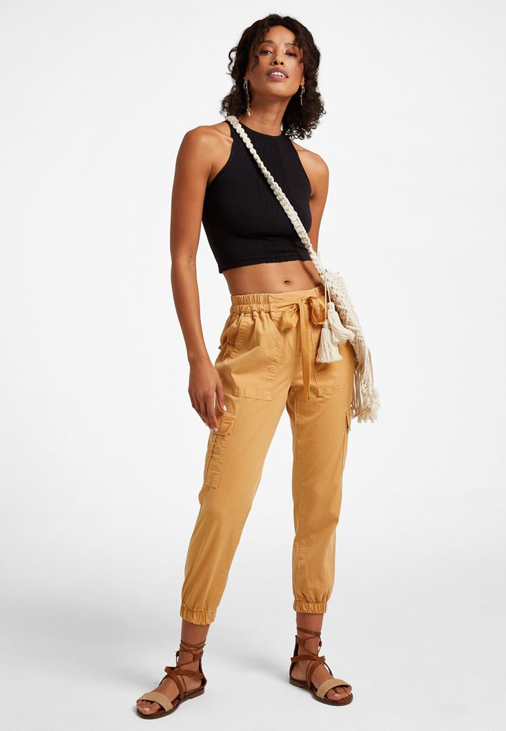 Cream Elastic-Waisted Cargo Trousers