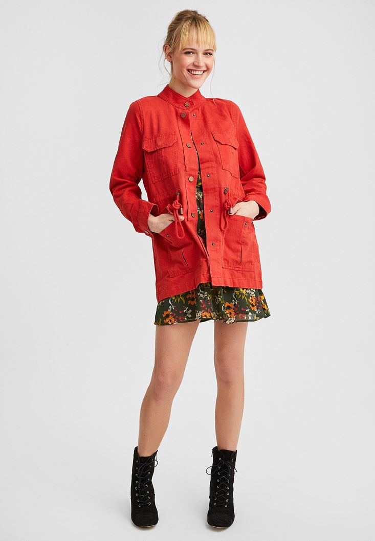 Bordeaux Long Jacket with Pockets