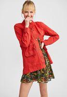 Women Bordeaux Long Jacket with Pockets
