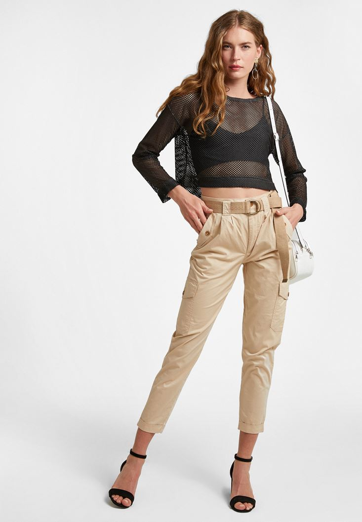 Cream Cargo Trousers with Belt
