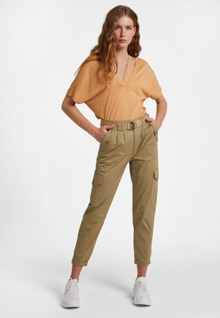 Green Cargo Trousers with Belt