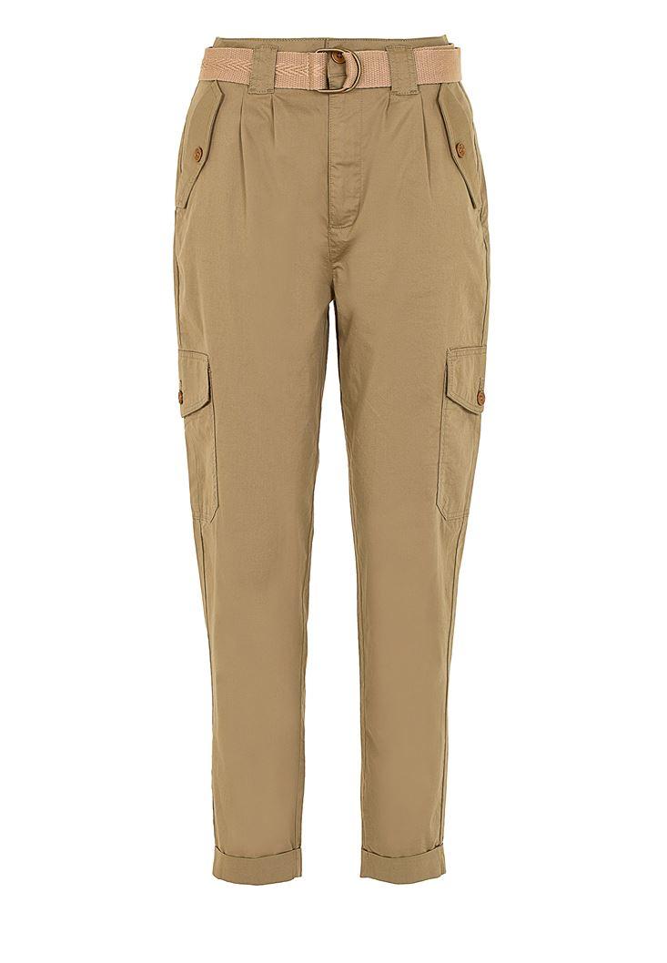 Kemerli Yüksek Bel Kargo Pantolon