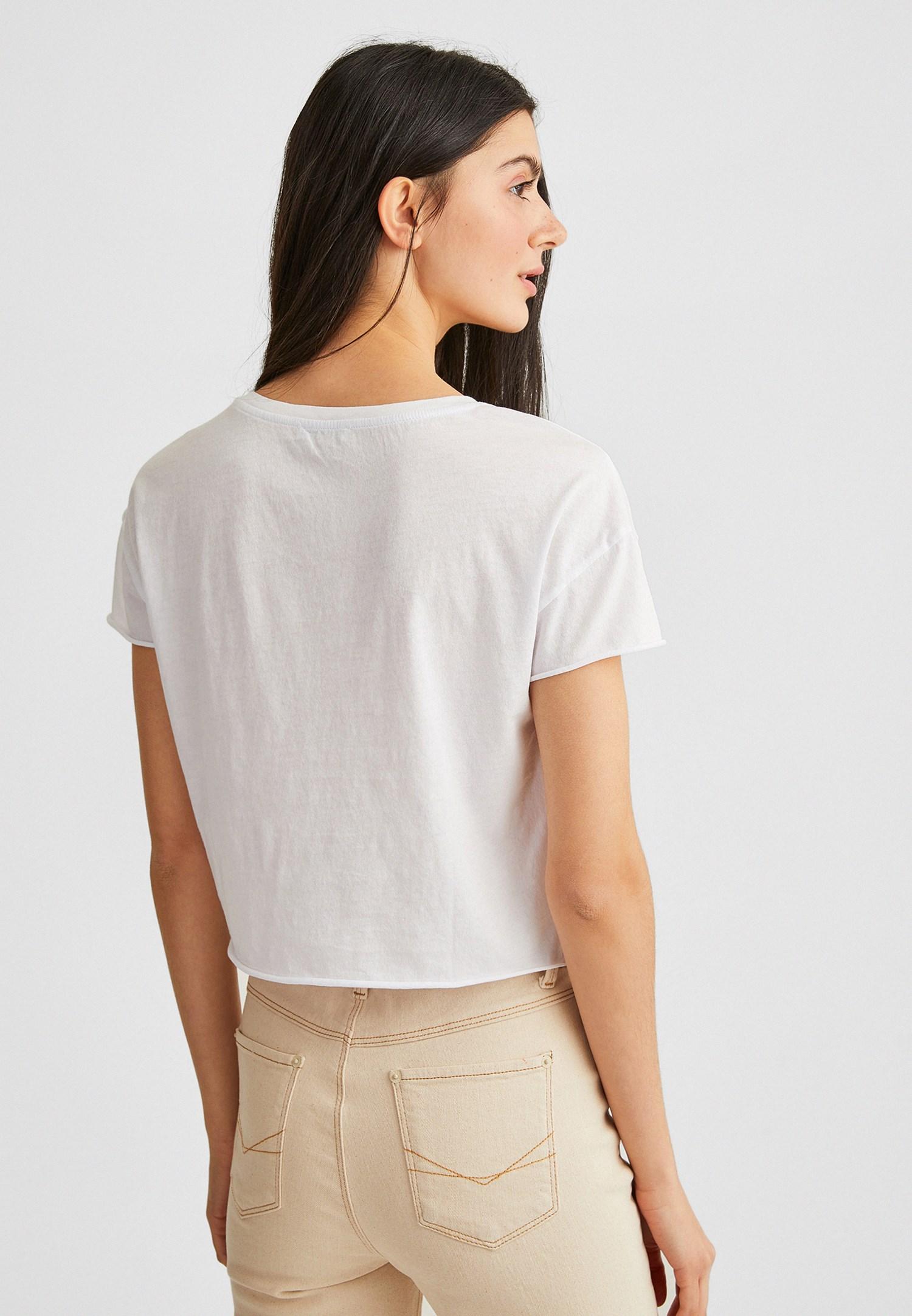 Bayan Beyaz Kısa Kollu Baskılı Tişört