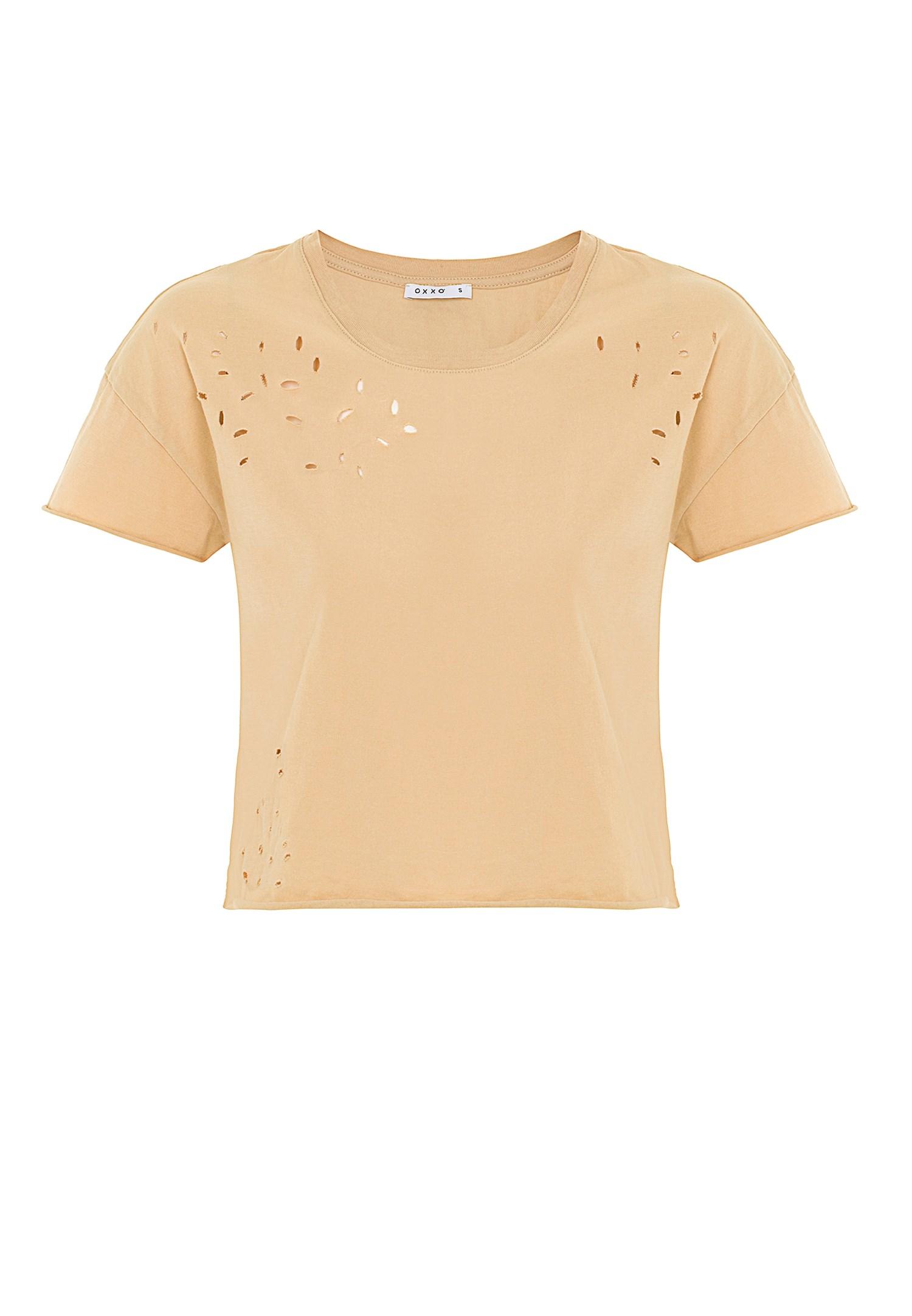 Bayan Krem Yırtık Detaylı Kısa Tişört