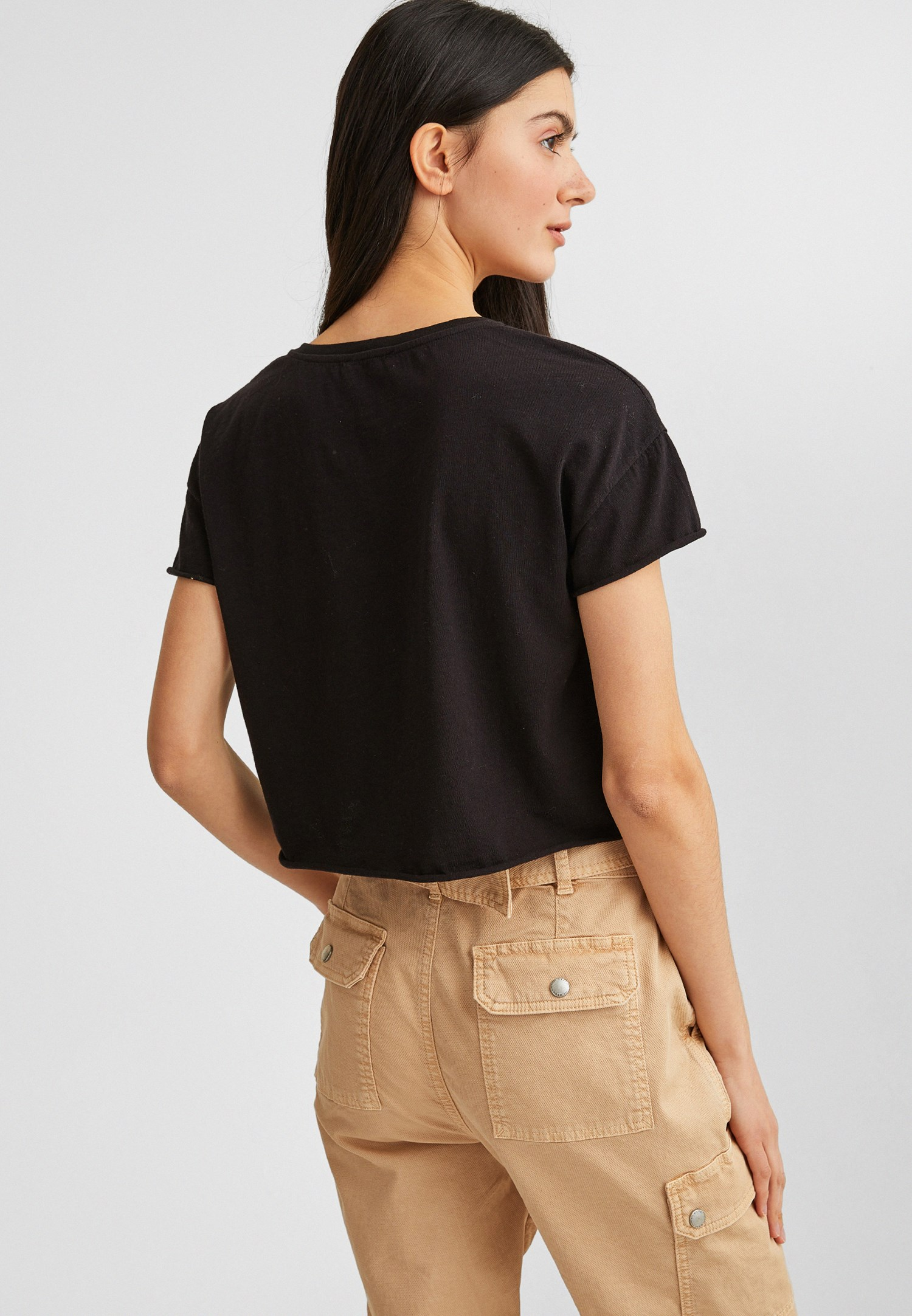 Bayan Siyah Kısa Kollu Tişört