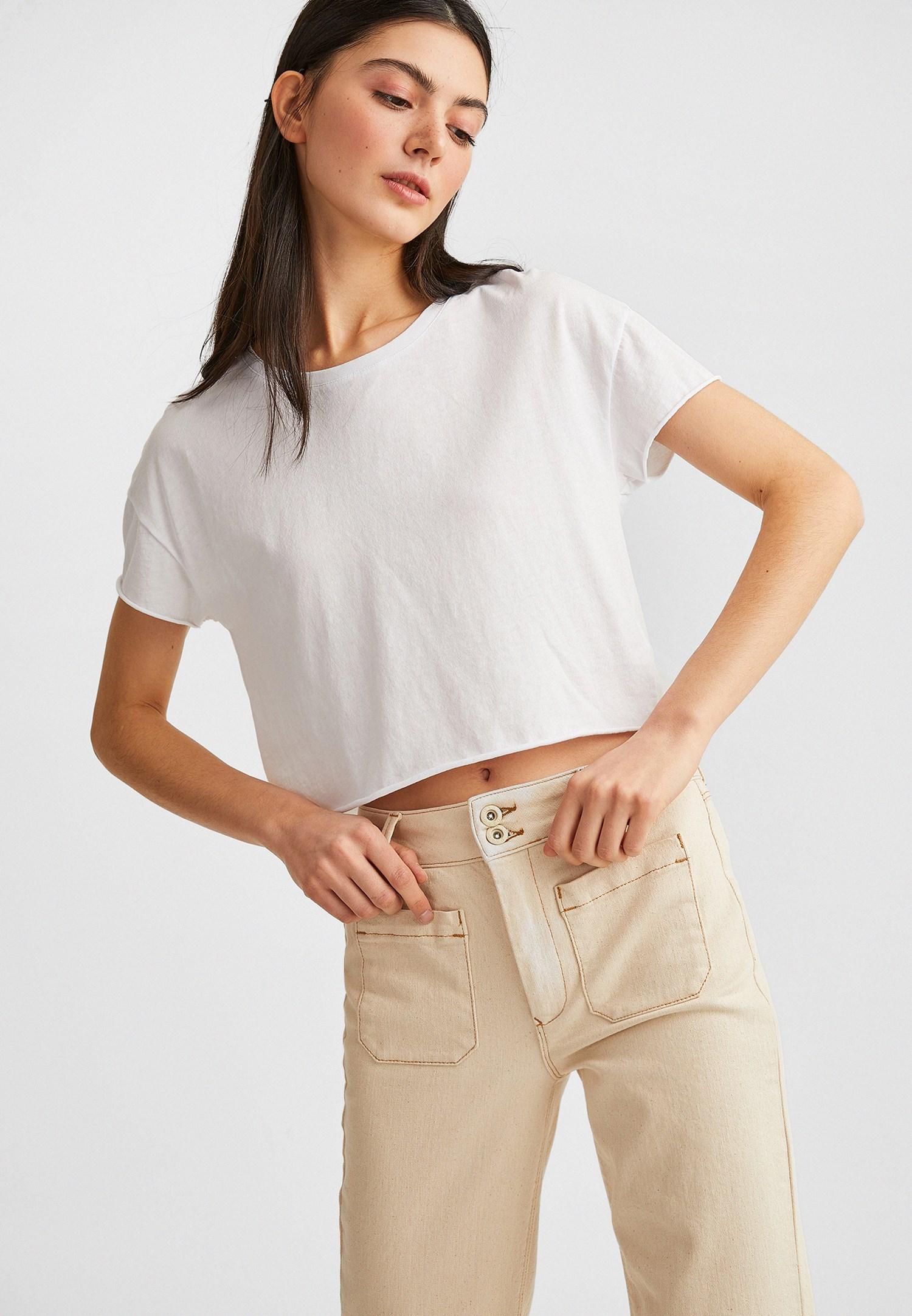 Bayan Beyaz Kısa Kollu Tişört