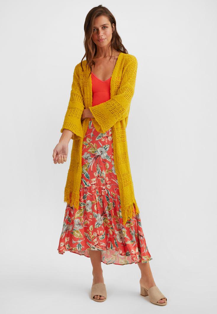 Sarı Püskül Detaylı Uzun Hırka