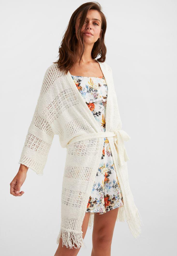 Cream Belted Knitwear Cardigan