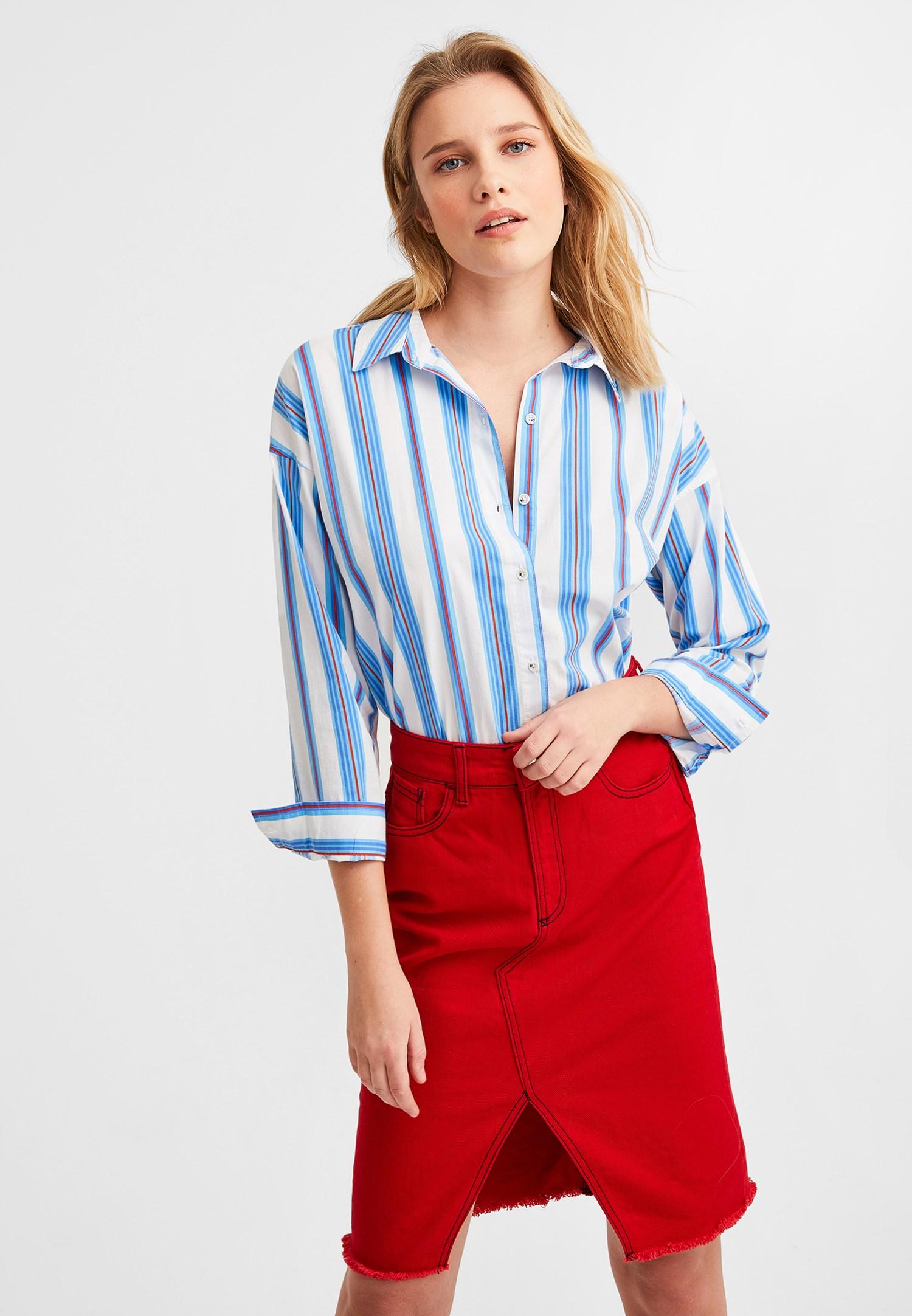 Bayan Çok Renkli Çizgili Pamuk Gömlek