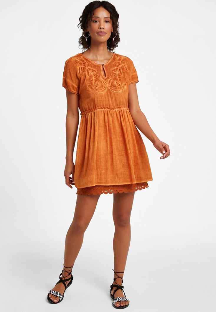 Orange Embroidery Mini Dress