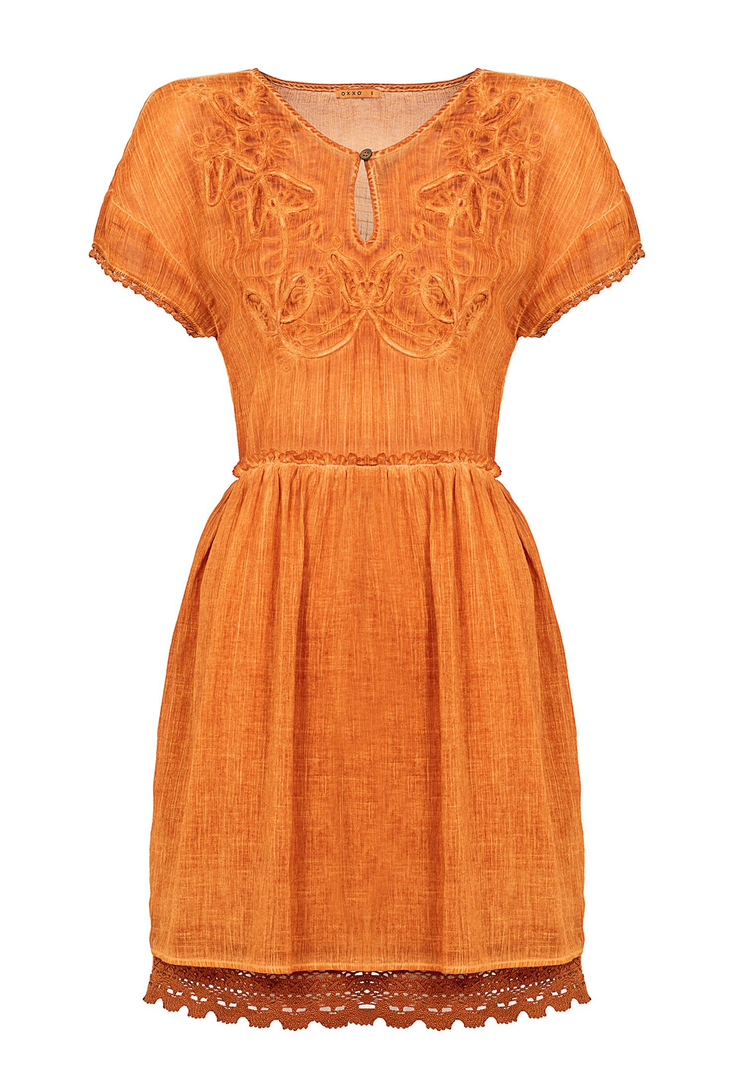 Bayan Turuncu Nakış Detaylı Kısa Elbise