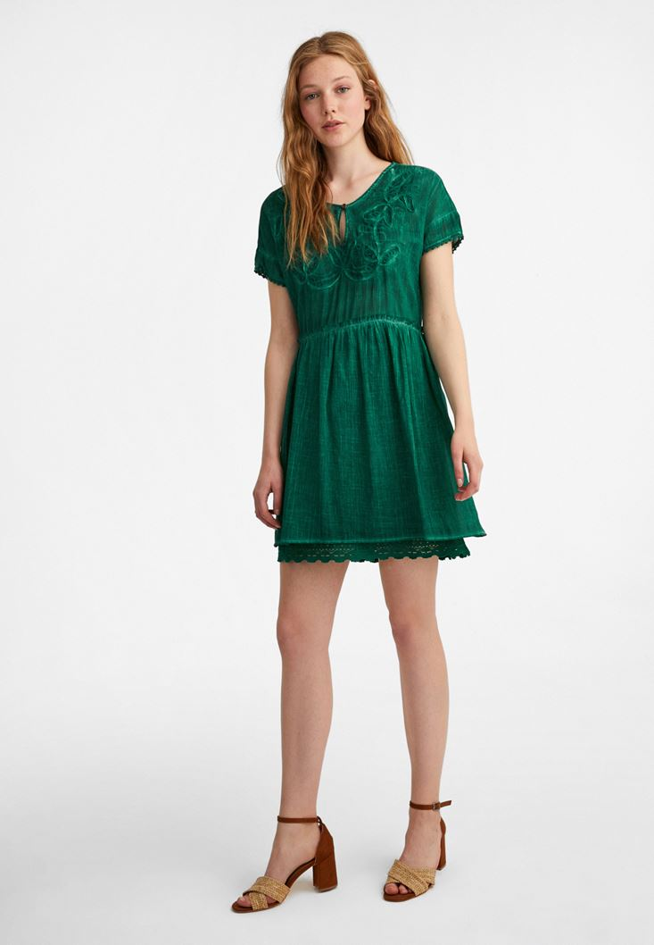 Green Embroidery Mini Dress