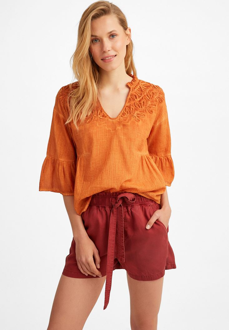 Orange Embroidered Shirt