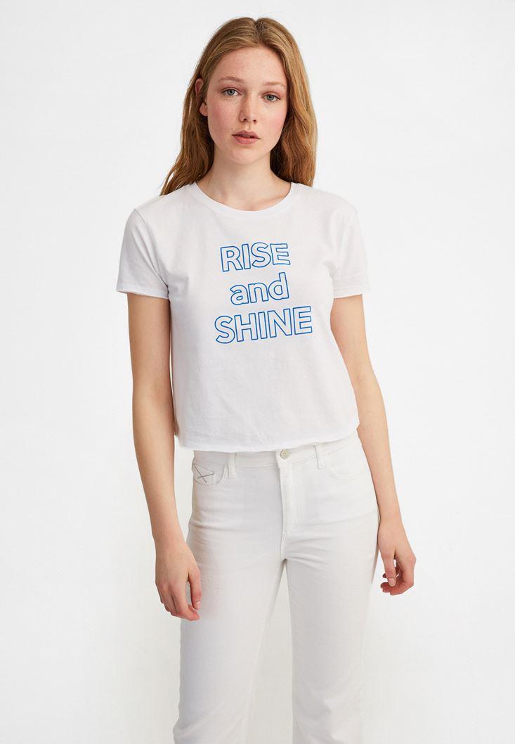 Beyaz Sıfır Yaka Baskılı Tişört